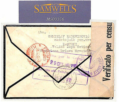 MS356 1942 WW2 CROATIA Local Registered Mail/Stamps missing (removed by censor)