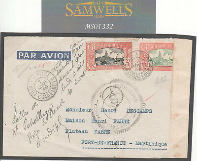 MS1332 1940 France Colonies GUADELOUPE WW2 AIRMAIL Censor Cover Martinique
