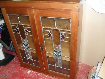 Older Type Wall Mounted Leaded Glass Display Cabinet With Shelves.