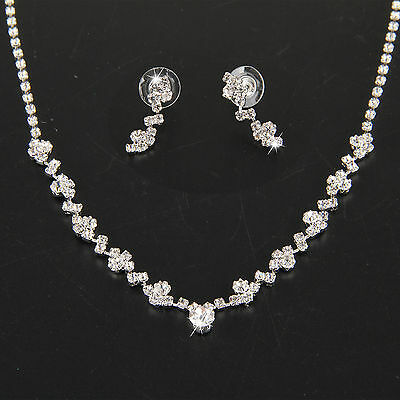 Silver Bridesmaid Crystal Necklace Earrings Kit Wedding Bridal Jewelry Jewellery