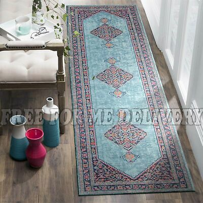 TALISH DIAMOND BLUE VINTAGE PERSIAN LOOK RUG RUNNER 80x300cm **FREE DELIVERY**