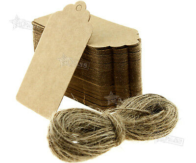 100 Kraft Paper Gift Tags Scallop Label Luggage Wedding Cards Blank + String Set