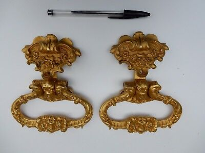 magnificent ormulu ROCOCO CHEST pull HANDLES  A PAIR   vintage 20th c