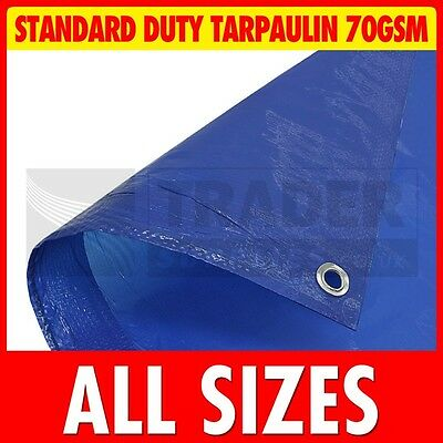 Blue Standard Duty Poly Tarpaulin Market Stall Cover Builders Tarp Ground Sheet