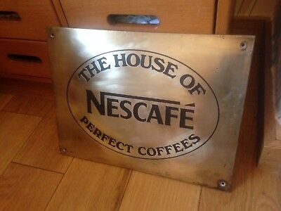 "Vintage Heavy Brass Sign"" NESCAFÉ THE HOUSE OF PERFECT COFFEES"""