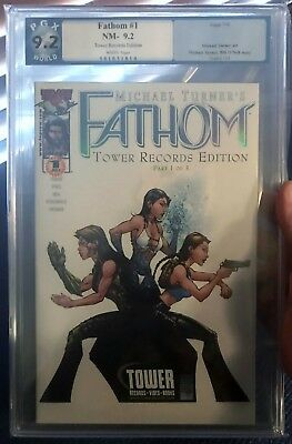 Fathom #1 Tower Records Foil Cover Variant! Aspen Comics 2000! PGX 9.2! SEE PICS