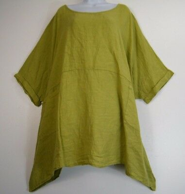 PLUS SIZE LAGENLOOK 55/% LINEN 45/%COTTON 3//4//SLEEVE TULIP TOP 10 COLS FITS 16-22