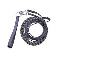 HKM Leather/Cord  Draw Reins Black FREE DELIVERY