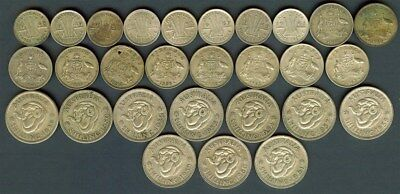 Australia 1946-1963 Silver 3 Pence, 6 Pence, & Shillings Nice Group Of 28 Coins
