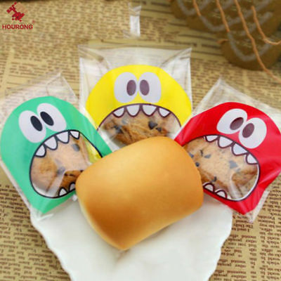 100Pcs Monster Self Adhesive Bags DIY Cookie Candy Package Cellophane Gift Bag