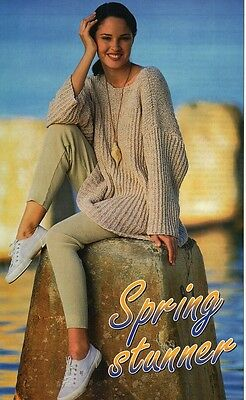 Ladies Knitting Pattern 8 Ply Copy Loose Fitting Sweater includes large sizes