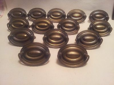 14 Vintage Brass Furniture Pulls Drawer Pulls