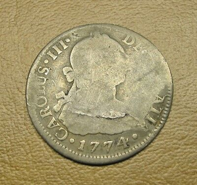 1774 Spanish Silver 2 Reale Coin In Vg Condition Obv Delamination, Mexico City