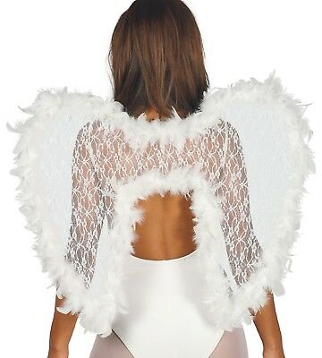Ladies Luxury White Lace Feather Angel Wings Fancy Dress Costume Accessory