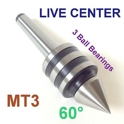 1 pc Lathe MT3 Live Center  MORSE TAPER #3 /3MT Triple Bearings Lathe Center