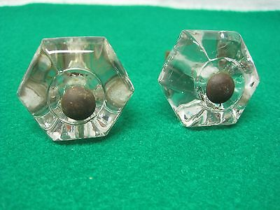 Pair Of Vintage Clear Glass Dresser Knobs