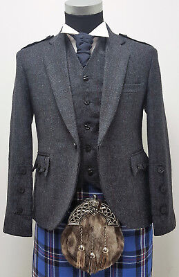 Navy/Grey Tweed Crail style Scottish Kilt Jacket & Vest Scottish Made SALE £159