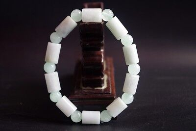 100% natural Burma jadeite jade cylinder bead bracelets bangle 糯种翡翠手链