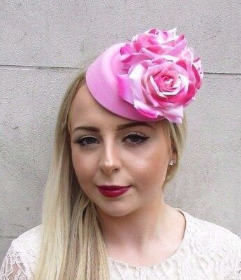 Large Pink Rose Flower Pillbox Hat Hair Fascinator Races Statement Floral 3851