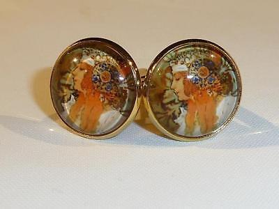 Gold Pl. Cufflinks - Mucha Art Nouveau Design - Gift Bag - Free Uk P&p.....w0948