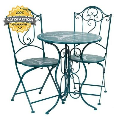 Indoor Outdoor Wrought Iron Dining Set Table With 2 Chairs
