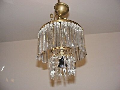 Antique Crystal Chandelier, 2 Tiers Prism Icicle And Lustre Crystals Aesthetic