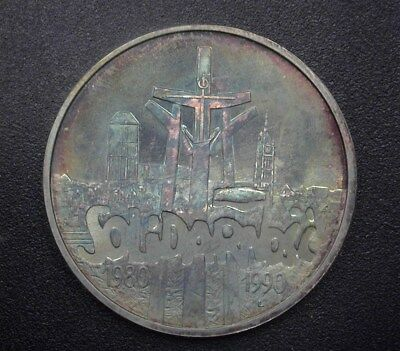 Poland 1990 Silver 100000 Zlotych  Near Perfect Uncirculated Rainbow Toning