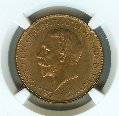 Great Britain 1929 Penny  Ngc Ms64 Red Brown  Looks Fully 65 Red!