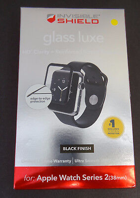 Used Zagg shield Glass Luxe HD Clarity Black For Apple watch Series 2 38mm