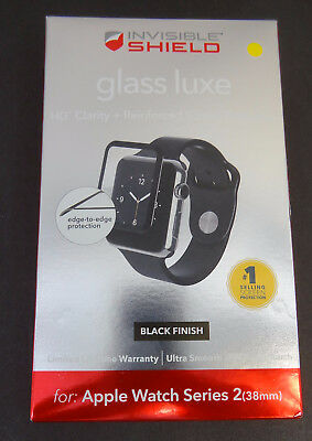 Zagg shield Glass Luxe HD Clarity Black For Apple watch Series 2 & 3 38mm