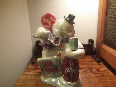 coca cola brand pearlescent cookie jar snowman with original box