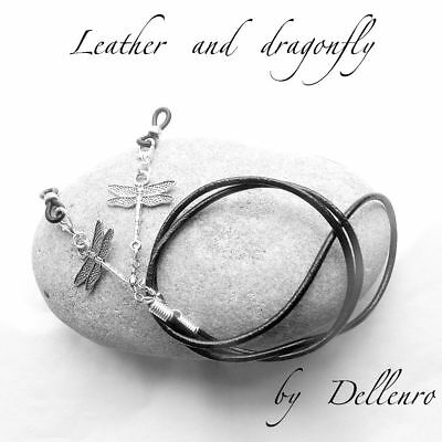 ✫Leather & Dragonfly✫ Eyeglass Glasses Spectacle Chain Holder  Cord
