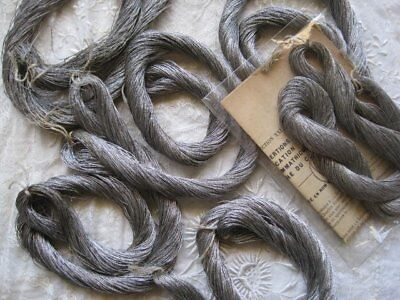 """Huge 36"""" Antique French Silver Metal Embroidery Thread Skein, Hank - Sewing,"""