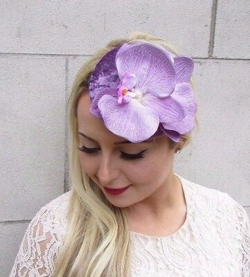 Lilac Mauve Purple Orchid Flower Fascinator Hat Races Hair Clip Vintage 3857