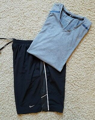 Lot of 2 Men's Nike Dri-Fit Athletic Running Shorts and Shirts SZ L Black/Gray