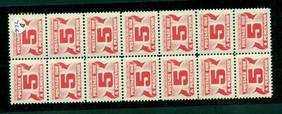 Canada J32a 5 cent postage due block of 14 MNH catalog value $280