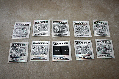 Vintage Parker Brothers Stop Thief Wanted Poster Game Piece Parts Lot