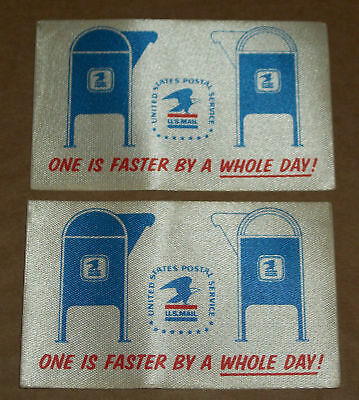 1960s Lot of 2 US USPS MAIL Stickers CLOTH Decal ONE IS FASTER BY A WHOLE DAY