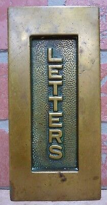 Antique LETTERS Mail Slot bronze brass hinged unusual vertical embossed letters