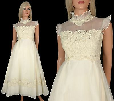 Vtg 60s Ivory Tea Length WEDDING DRESS Bridal Gown Taffeta Tulle Chiffon Lace 4
