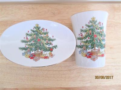 Vintage White Porcelain With Gold Christmas Tree Cup & Soap Dish Bathroom Set