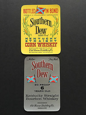 Vintage & Original Lot of Two (2) 1950's Southern Dew Whiskey Labels - Kentucky