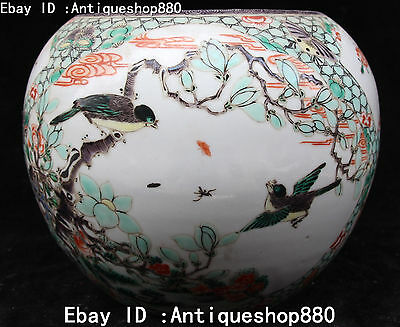 Chinese Wu Cai Porcelain Magpie Pied Magpie Flower Butterfly Pot Jar Crock Jug