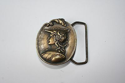 Brass Vintage Oval Bust Female Portrait Mythology Soldier Buckle