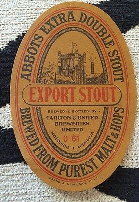 Old Australian Beer Label, Abbots Extra Double Export Stout, Cub Melborne Large