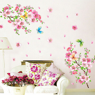 US Stock Blossom Flower Butterfly Vinyl Art Wall Sticker Wall Decal Room Decor