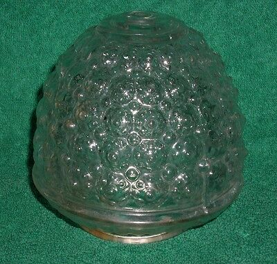 Glass Lamp Ceiling Light Fixture ANTIQUE Art Deco Era Embossed Clear Shade Globe