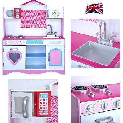 UK Large Girls Boys Kids Wooden Play Kitchen Role Play Pretend Toy Furniture