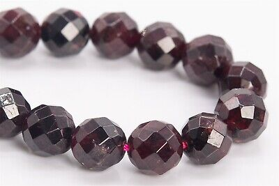 """8MM Natural Garnet Grade A+ Faceted Round Gemstone Loose Beads 7"""""""
