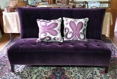 Custom Vintage Antique Style Velvet Plumb Colored Mohair Tufted Sofa Settee